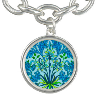 William Morris Hyacinth Print, Cerulean Blue Charm Bracelets