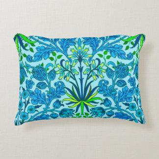 William Morris Hyacinth Print, Cerulean Blue Decorative Pillow
