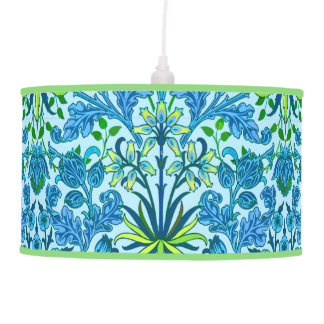 William Morris Hyacinth Print, Cerulean Blue Hanging Pendant Lamp
