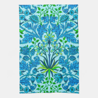William Morris Hyacinth Print, Cerulean Blue Kitchen Towel