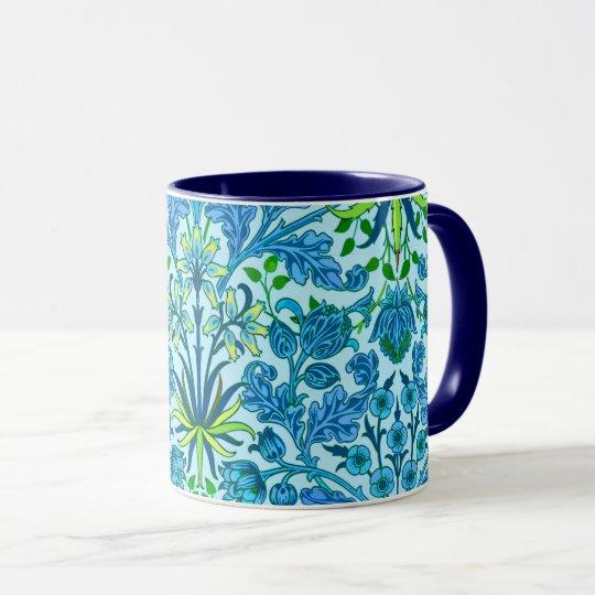 William Morris Hyacinth Print, Cerulean Blue Mug