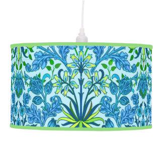 William Morris Hyacinth Print, Cerulean Blue Pendant Lamp