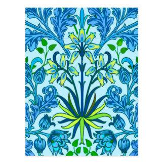 William Morris Hyacinth Print, Cerulean Blue Postcard