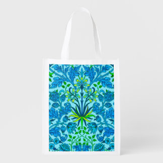 William Morris Hyacinth Print, Cerulean Blue Reusable Grocery Bag
