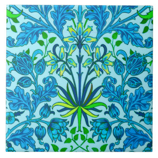 William Morris Hyacinth Print, Cerulean Blue Tile