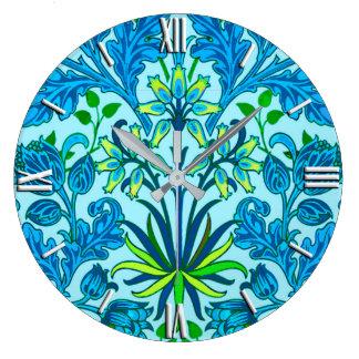William Morris Hyacinth Print, Cerulean Blue Wallclock