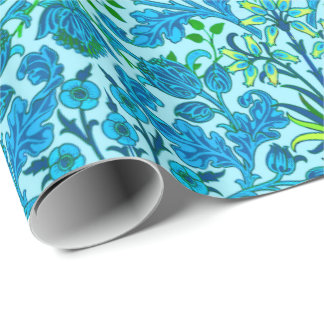 William Morris Hyacinth Print, Cerulean Blue Wrapping Paper