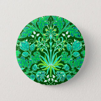 William Morris Hyacinth Print, Emerald Green 2 Inch Round Button