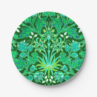 William Morris Hyacinth Print, Emerald Green 7 Inch Paper Plate