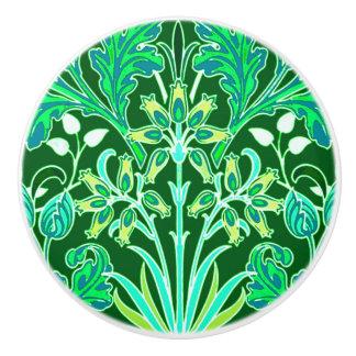 William Morris Hyacinth Print, Emerald Green Ceramic Knob