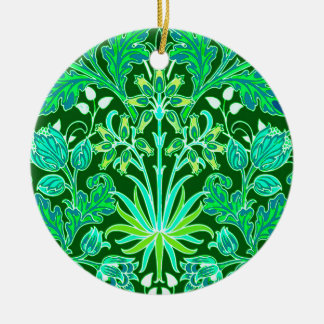 William Morris Hyacinth Print, Emerald Green Ceramic Ornament