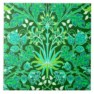 William Morris Hyacinth Print, Emerald Green Ceramic Tile