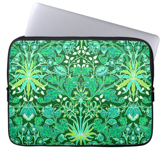 William Morris Hyacinth Print, Emerald Green Computer Sleeves