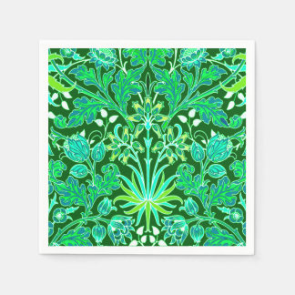 William Morris Hyacinth Print, Emerald Green Disposable Napkins