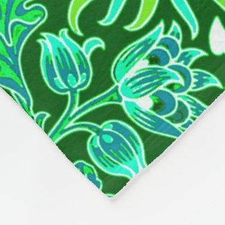 William Morris Hyacinth Print, Emerald Green Fleece Blanket