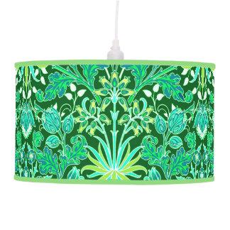 William Morris Hyacinth Print, Emerald Green Hanging Lamp