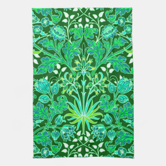 William Morris Hyacinth Print, Emerald Green Kitchen Towel
