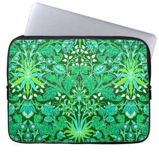 William Morris Hyacinth Print, Emerald Green Laptop Sleeve