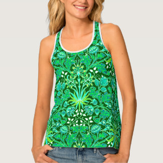 William Morris Hyacinth Print, Emerald Green Tank Top