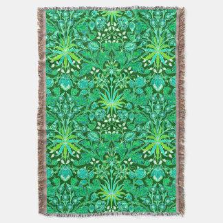 William Morris Hyacinth Print, Emerald Green Throw