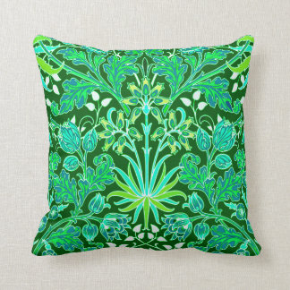 William Morris Hyacinth Print, Emerald Green Throw Pillow