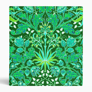 William Morris Hyacinth Print, Emerald Green Vinyl Binders