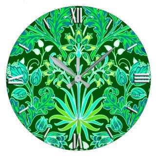 William Morris Hyacinth Print, Emerald Green Wallclock