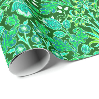 William Morris Hyacinth Print, Emerald Green Wrapping Paper