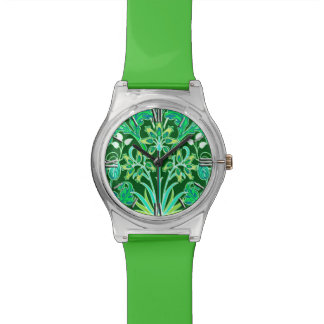 William Morris Hyacinth Print, Emerald Green Wrist Watches