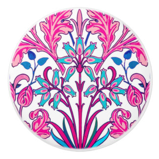 William Morris Hyacinth Print, Fuchsia Pink Ceramic Knob