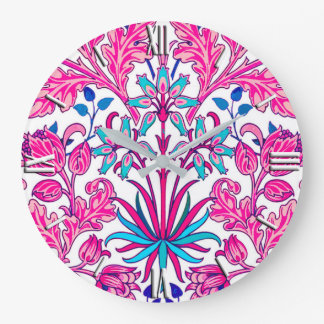 William Morris Hyacinth Print, Fuchsia Pink Large Clock