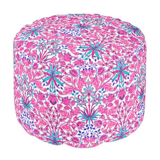 William Morris Hyacinth Print, Fuchsia Pink Pouf