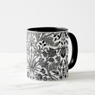 William Morris Hyacinth Print, Gray, Black & White Mug