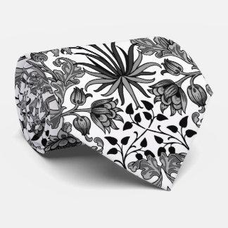 William Morris Hyacinth Print, Gray, Black & White Tie