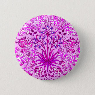 William Morris Hyacinth Print, Lavender and Violet 2 Inch Round Button