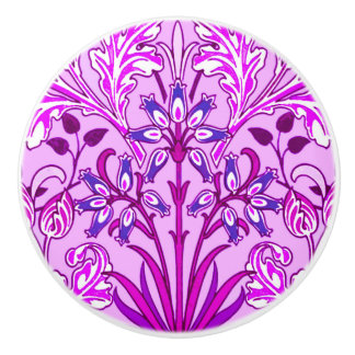 William Morris Hyacinth Print, Lavender and Violet Ceramic Knob