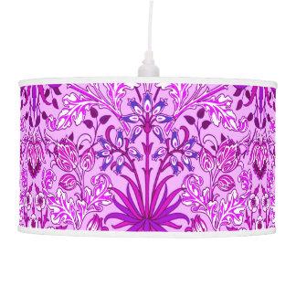 William Morris Hyacinth Print, Lavender and Violet Hanging Lamp