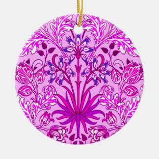 William Morris Hyacinth Print, Lavender and Violet Round Ceramic Ornament
