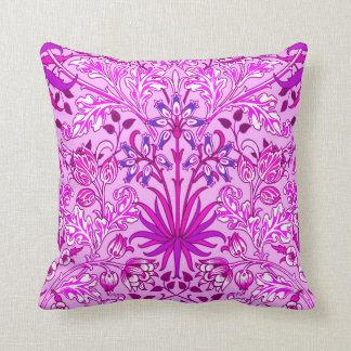 William Morris Hyacinth Print, Lavender and Violet Throw Pillow
