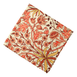 William Morris Hyacinth Print, Orange and Rust Bandanas