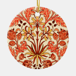 William Morris Hyacinth Print, Orange and Rust Ceramic Ornament