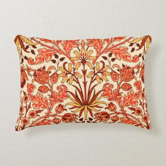 William Morris Hyacinth Print, Orange and Rust Decorative Pillow