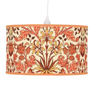 William Morris Hyacinth Print, Orange and Rust Hanging Pendant Lamps