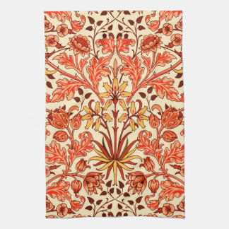 William Morris Hyacinth Print, Orange and Rust Kitchen Towel