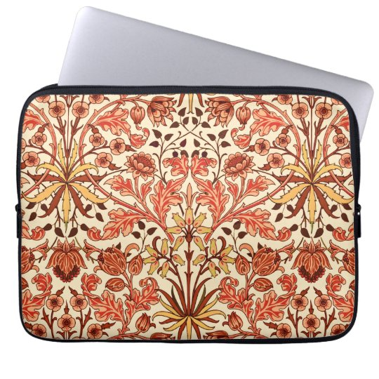 William Morris Hyacinth Print, Orange and Rust Laptop Sleeve