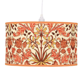 William Morris Hyacinth Print, Orange and Rust Pendant Lamp