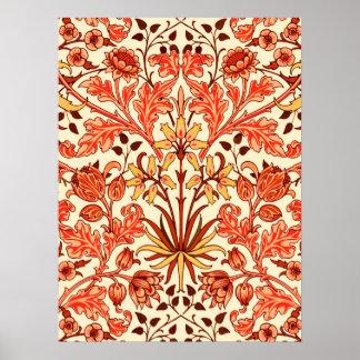 William Morris Hyacinth Print, Orange and Rust Poster