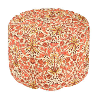 William Morris Hyacinth Print, Orange and Rust Pouf