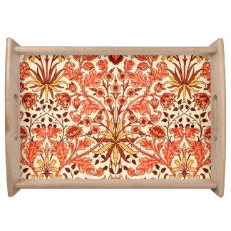 William Morris Hyacinth Print, Orange and Rust Serving Tray