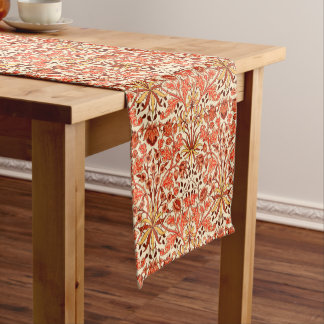 William Morris Hyacinth Print, Orange and Rust Short Table Runner